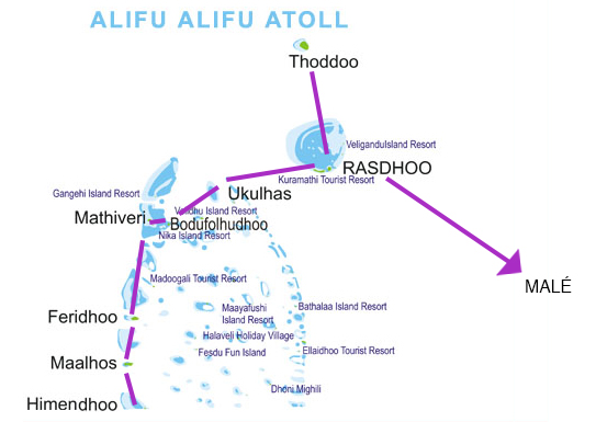 mapa ruta atolon alifu maldivas