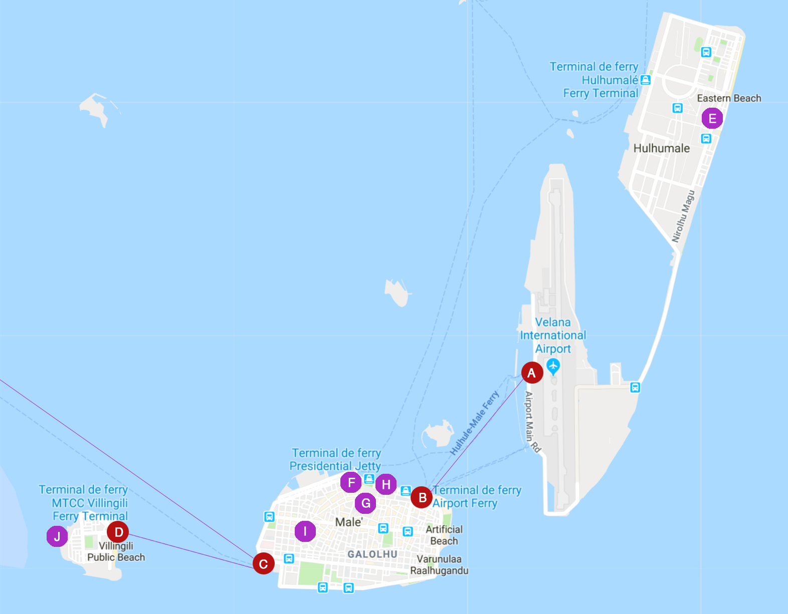 mapa plano de male en maldivas