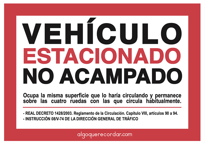 cartel autocaravana estacionamiento